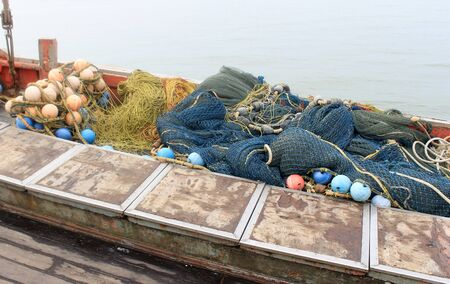 fishing floats: Background of fishing nets and floats