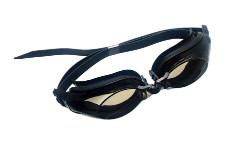 healthier: Swimming goggles isolated on white Stock Photo