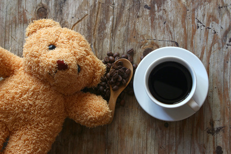 bear doll: Cup of coffee and bear doll