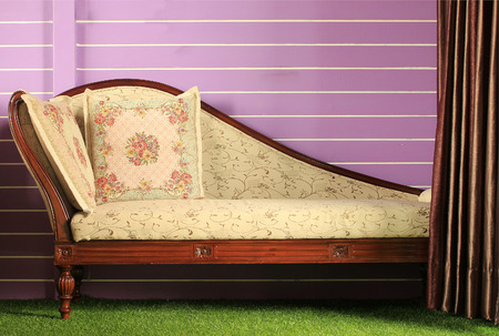 sumptuous: Opened curtain and vintage sofa