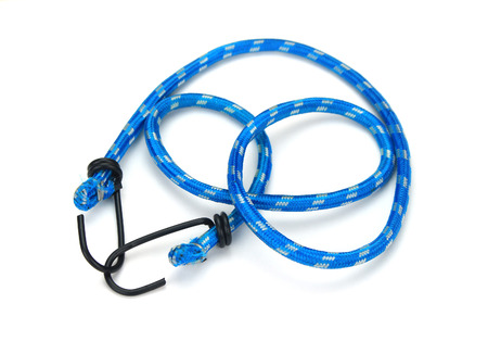 braided flexible: black hook with Elastic rope on the white background
