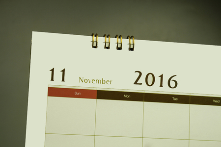 at close quarters: Calendar page of month 2016 Stock Photo