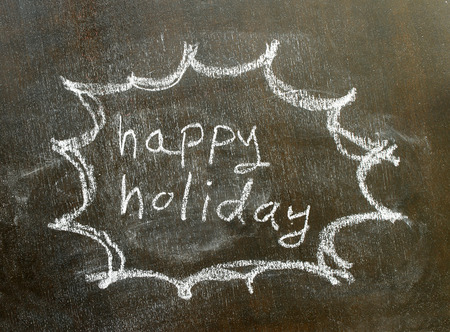 utterance: the word happy holiday in bubble sign