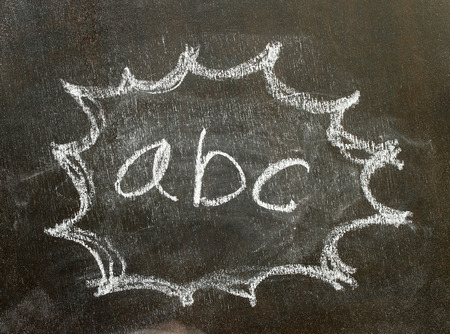 utterance: the word abc in bubble sign