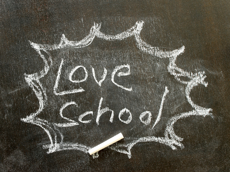 interjection: the word love school in bubble sign
