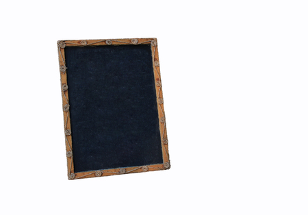 antique sleigh: Blank old blackboard isolated on white backround with string, retro style Stock Photo
