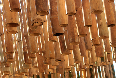architectural lighting design: Bamboo decoration hanging from the ceiling