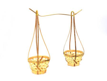 yoke: basket bamboo for carry a yoke on a shoulder pole Stock Photo