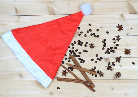 decorate: santa hat and rustic decorate on wood