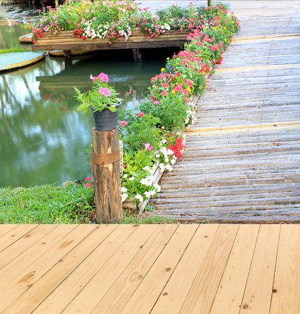 on wood floor: Garden landscape with wood floor