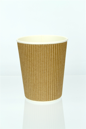 Take-out coffee in thermo cup. Isolated on a white