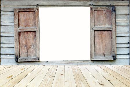 on wood floor: old wood window with wood floor