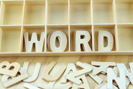 remark: Word word made with wooden letters alphabet Stock Photo