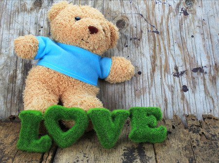 bear s: toy bear and words of love with old wood background Stock Photo