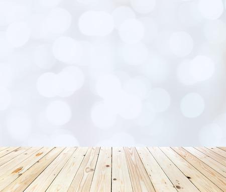 木製テーブル トップ白ボケの抽象的な背景