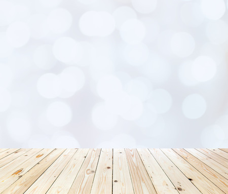 Wood table top on white bokeh abstract background Stock Photo