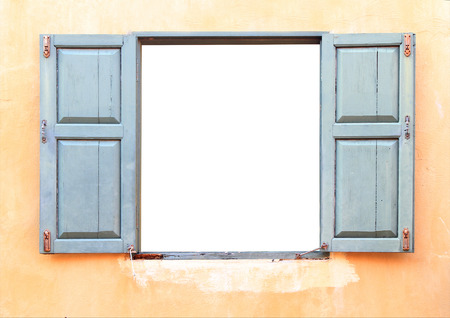 Open Old Window On Brick Wall Standard-Bild
