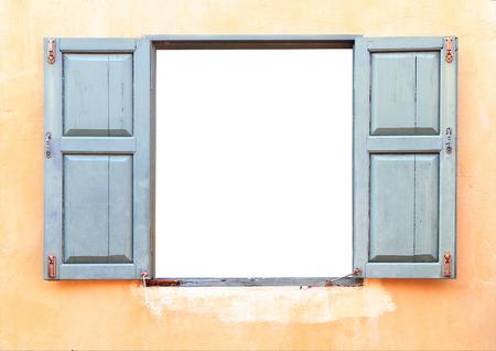 Open Old Window On Brick Wall Stock Photo
