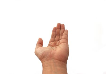 woman handle success: hand on the isolated background