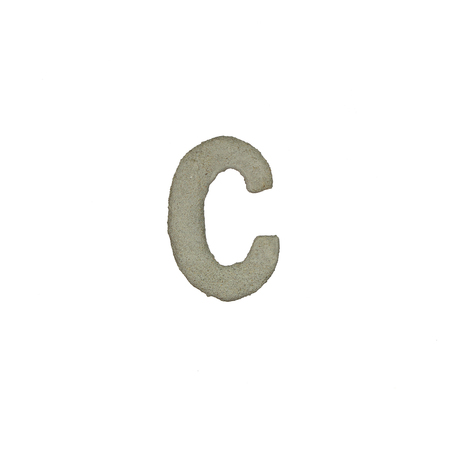 quicklime: The C letter cement texture with clipping path Stock Photo