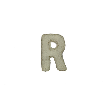 quicklime: The R letter cement texture with clipping path Stock Photo