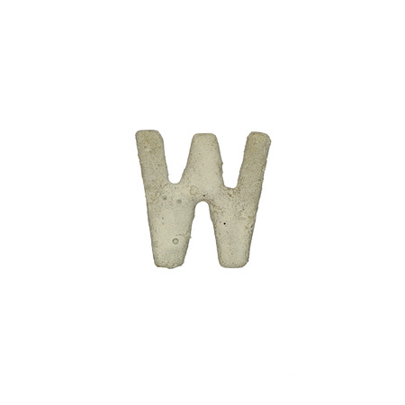 w c: The W letter cement texture with clipping path Stock Photo