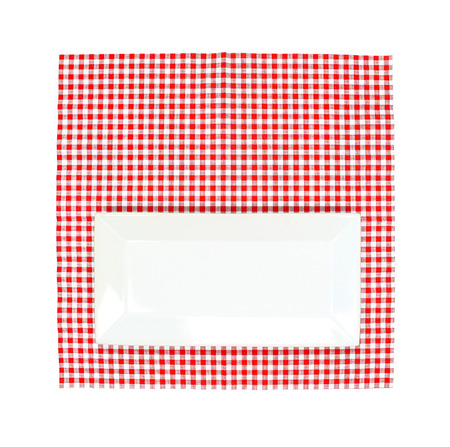 food absorption: Top view plate on red tablecloth texture
