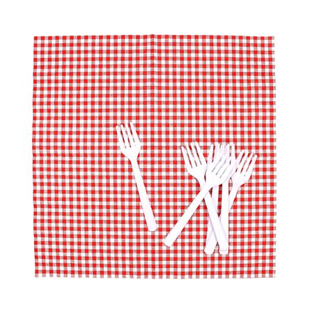 food absorption: Top view fork on tablecloth for food serving background
