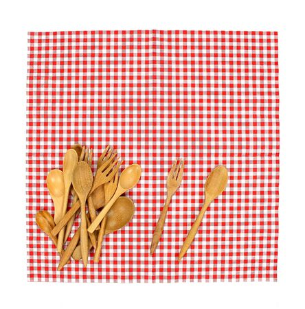 food absorption: Top view fork and spoon on tablecloth for food serving background
