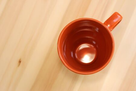 table top: Top view tea cup on wood table Stock Photo