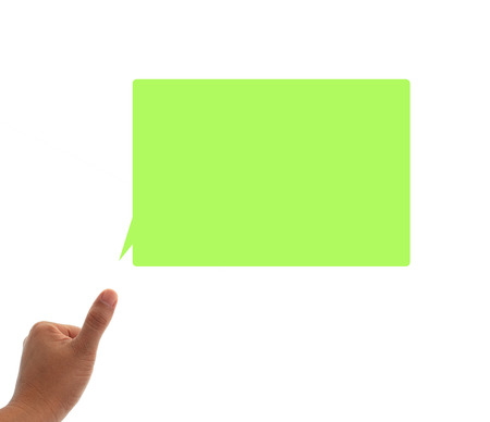 opening up: thumb up and opening  speech isolated with white background