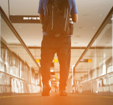 zooming: Pedestrian walking with zooming motion blur Stock Photo