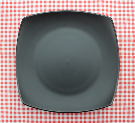 checkered tablecloth: Empty plate on checkered tablecloth Stock Photo