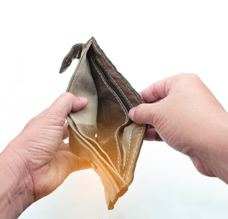 man hand with an empty wallet isolated on white background