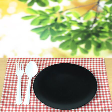 spoon with fork and dish on checkered tablecloth and blur leaves background Stock Photo