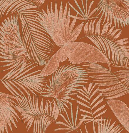 mix palm leaf tree background Stock Photo