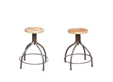 Wooden chairs and round tables isolated on white background. Furniture elements in flat style design.clipping path