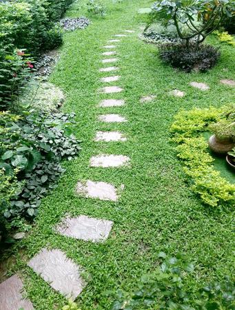 walk path: stone path walk way in green grass garden Stock Photo