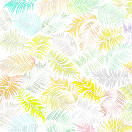mix set green leaf of coconut palm tree background
