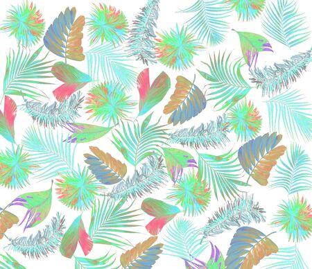mix leaf of palm tree background Stock Photo