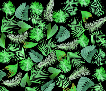 Mix leaves of palm tree background