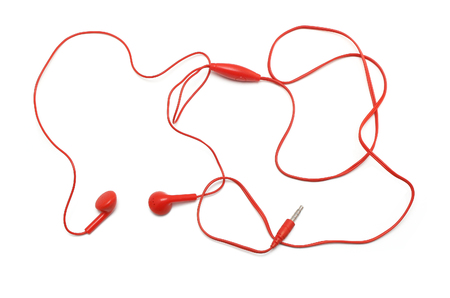 red earphone on white background Stock Photo