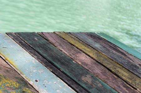 Wood plank floor on water surface background