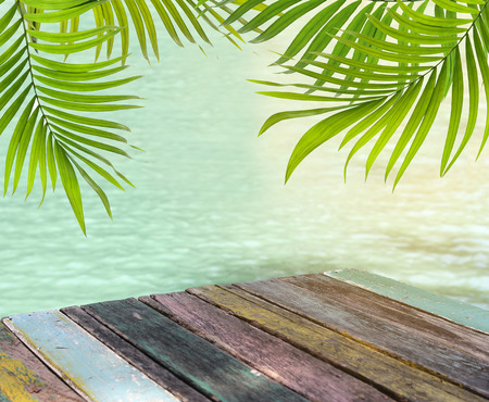 Wood plank floor on water surface and palm leaf background