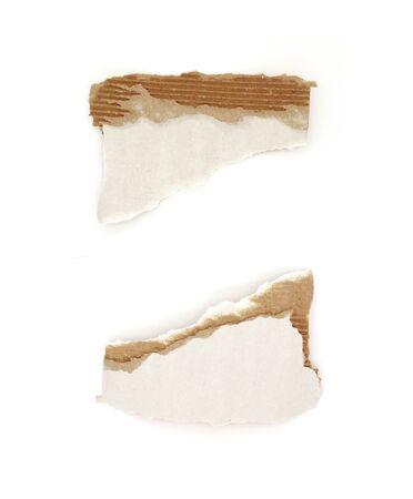 Piece of torn paper cardboard