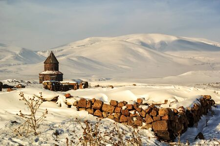 Historical church in site of Ani. Ani is a ruined Armenian medieval city in todays Turkey. Stock Photo