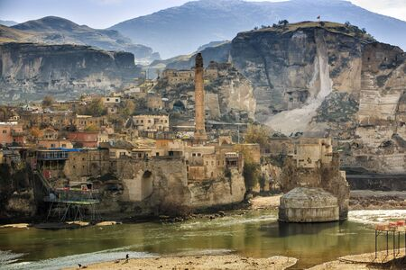 The landscape of the Hasankeyf region. Ancient residential area in Anatolia, Turkey