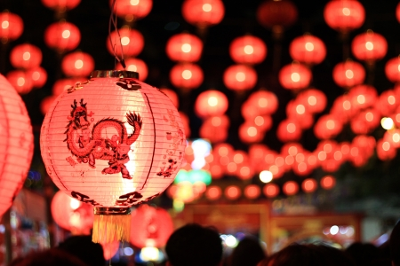 red lantern: row light from Chinese new year at Yaowarat thailand
