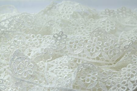 isolated White lace flowers pattern photo