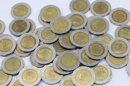 coin ten baht on white background photo